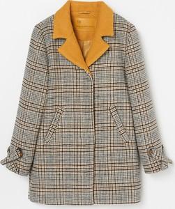 Brązowy płaszcz dziecięcy Reserved z wełny