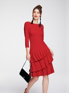 Czerwona sukienka Heine midi