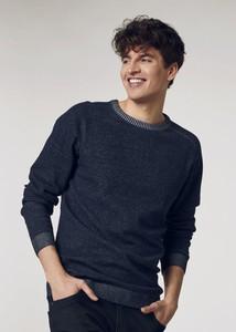 Granatowy sweter Ochnik w stylu casual z bawełny z okrągłym dekoltem