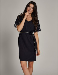 Czarna sukienka ELEONORA PORTERA z krótkim rękawem