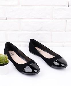 Czarne baleriny Yourshoes ze skóry ekologicznej z płaską podeszwą