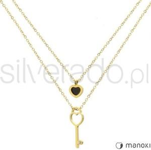 Silverado bardzo oryginalny naszyjnik z sercem z onyksem i kluczem 77-wa280g