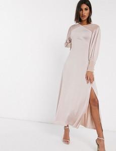 Różowa sukienka Asos Design maxi z długim rękawem