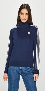 Niebieska bluza Adidas Originals w stylu casual z dzianiny krótka