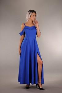 Niebieska sukienka Oscar Fashion rozkloszowana