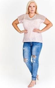 Bluzka Fokus w stylu casual z dekoltem w kształcie litery v z krótkim rękawem