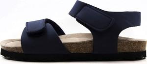 Granatowe buty dziecięce letnie Lamino dla chłopców na rzepy ze skóry