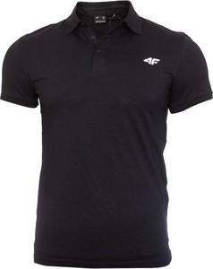 Czarna koszulka polo 4F z bawełny w sportowym stylu z krótkim rękawem
