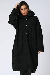 Czarny płaszcz Plus Size Fashion w stylu casual