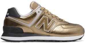 Złote buty sportowe New Balance z płaską podeszwą