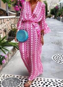 Różowa sukienka Cikelly maxi z długim rękawem