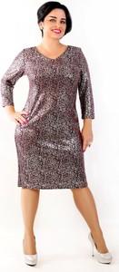 Sukienka Oscar Fashion midi z dzianiny z dekoltem w kształcie litery v