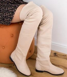 Kozaki Chic Nana za kolano w stylu casual z płaską podeszwą