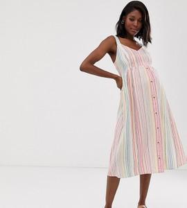 New Look Maternity New Look - Maternity - Lniana sukienka midi w paski na białym tle