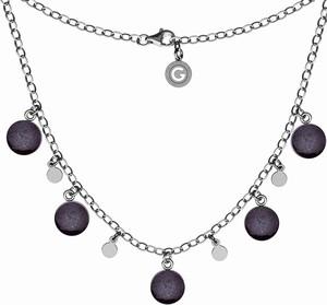 GIORRE SREBRNY NASZYJNIK CHOKER Z KOLOROWĄ ŻYWICĄ, SREBRO 925 : Kolor pokrycia srebra - Pokrycie Czarnym Rodem, Kolor żywicy - ciemny purpurowy