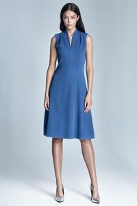 Niebieska sukienka Nife midi z dekoltem w kształcie litery v