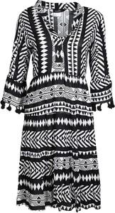 Sukienka Zwillingsherz z dekoltem w kształcie litery v z długim rękawem