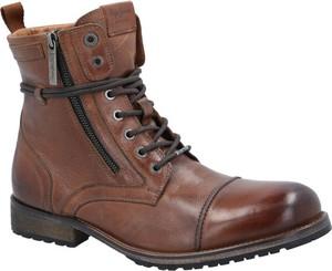 Brązowe buty zimowe Pepe Jeans ze skóry