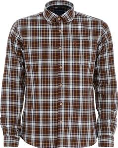 Brązowa koszula Ochnik z kołnierzykiem button down z długim rękawem