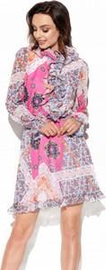 Różowa sukienka Lemoniade z długim rękawem z jedwabiu