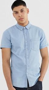 Koszula New Look z klasycznym kołnierzykiem z jeansu z krótkim rękawem