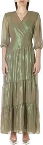 Sukienka Cristina Effe z dekoltem w kształcie litery v maxi z długim rękawem