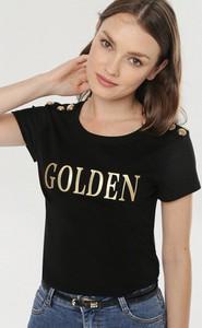 Czarna bluzka born2be w młodzieżowym stylu z krótkim rękawem z okrągłym dekoltem