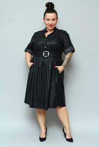 Czarna sukienka KARKO z długim rękawem z dzianiny midi
