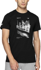 Czarny t-shirt 4F z krótkim rękawem z bawełny w sportowym stylu