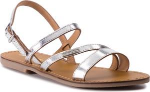 Srebrne sandały Les Tropeziennes z klamrami ze skóry ekologicznej