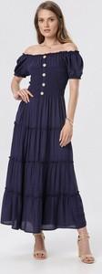 Granatowa sukienka born2be maxi rozkloszowana