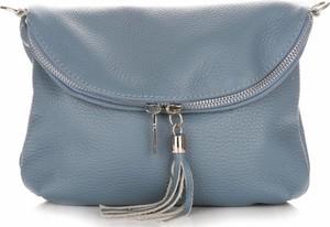 Niebieska torebka Vera Pelle mała na ramię z frędzlami