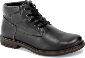 Czarne buty zimowe Abis sznurowane ze skóry