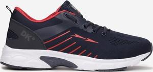 Granatowe buty sportowe born2be sznurowane ze skóry