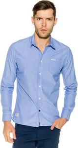 Niebieska koszula Pepe Jeans z klasycznym kołnierzykiem z długim rękawem