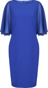 Niebieska sukienka Vitovergelis z szyfonu z okrągłym dekoltem
