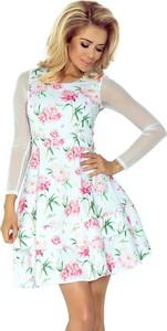 Sukienka NUMOCO rozkloszowana mini z długim rękawem