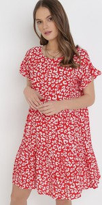 Czerwona sukienka born2be mini oversize z krótkim rękawem