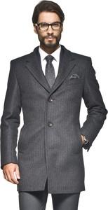 Szary płaszcz męski recman bez wzorów