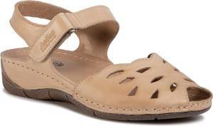 Brązowe sandały Helios w stylu casual na koturnie