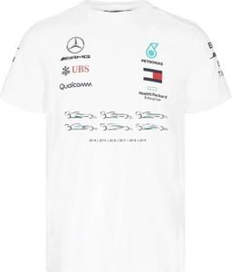 T-shirt Mercedes Amg Petronas F1 Team z krótkim rękawem z bawełny w sportowym stylu