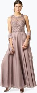 Różowa sukienka Unique w stylu glamour z okrągłym dekoltem