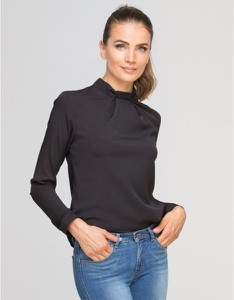 Czarna bluzka Lanti z golfem w stylu casual