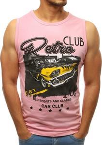 Różowa koszulka Dstreet z bawełny z nadrukiem