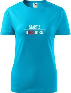 Niebieski t-shirt TopKoszulki.pl z bawełny w sportowym stylu z krótkim rękawem