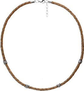Manoki WA462N brązowy naszyjnik męski rzemień, beads