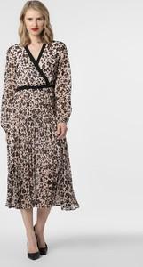 Brązowa sukienka Liu-Jo midi kopertowa z dekoltem w kształcie litery v