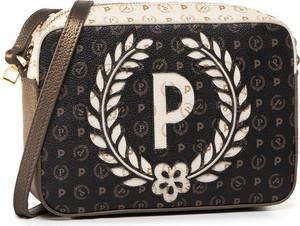 Brązowa torebka Pollini z nadrukiem w młodzieżowym stylu na ramię