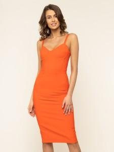 Pomarańczowa sukienka Elisabetta Franchi ołówkowa