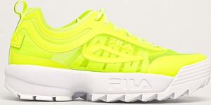 Żółte buty sportowe Fila na platformie